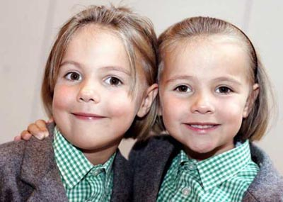 18 sets of twins at The Grange School Northwich  Pictured  Alicia and Phoebe Kenwright  Mark Waugh   News DATE CREATED:10/09/2007
